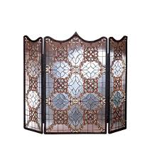 details about meyda tiffany victorian folding fireplace screen hand made stained glass brass
