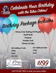 Birthday Party Flier Tulsa Oilers