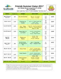 Summer Camp Weekly Schedule Summer Camp Friends Preschool Academy