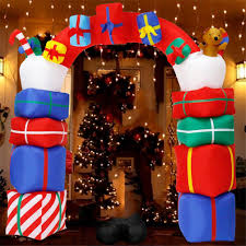 Lighted Stacked Christmas Gift Boxes Patio Lawn Garden 8 Foot Tall Lighted Christmas