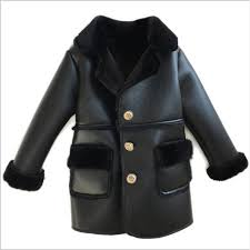 winter children faux leather suede coat black pu leather jacket lambs wool fur collar long jackets