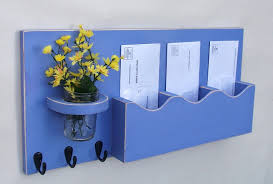 cute diy wood wall mail organizer with flower vase and key holder in blue color ideas