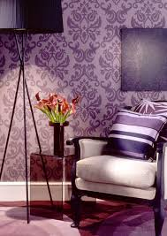 Purple Wall Design For All Damask Wall For The Bakery One Wall I Love This Purple
