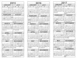 Calendar Planner Printable 2015 2015 2016 2017 3 Year Calendar
