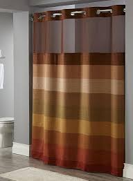stratus hookless brown hotel polyester shower curtain with snap liner 71x77