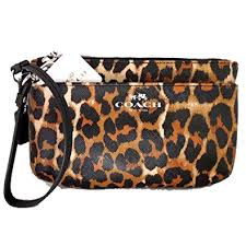 Coach Animal Print Medium Wristlet Iphone Holder Pouch Wallet Coin Purse  Holiday Gift