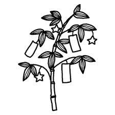 笹飾り七夕夏の季節7月の行事無料白黒イラスト素材