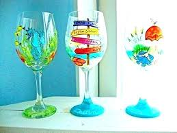beach wine glasses tropical glass loves art hand painted wineglasses by themed candle holders spike outdoor