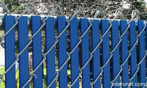 Chain link fence blue privacy slats picture interunet