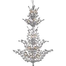 25 light chrome with crystal flowers high quality modern style chandelier ht 54 x wd 41