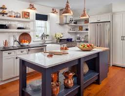 White kitchen with copper and navy blue accents farmhouse-kitchen