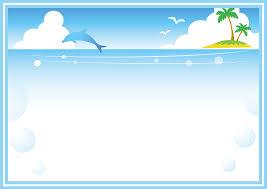 フリーイラスト イルカと南の島と夏の海の飾り枠でアハ体験 Gahag