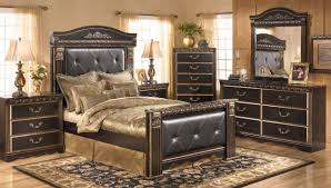 Queen Furniture Bedroom Set Creek 4 Piece Mansion Bedroom Set In Dark Brown