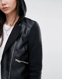 noisy may tall leather look biker jacket with hood