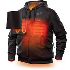 Milwaukee Mens Large M12 12 Volt Lithium Ion Cordless Black Heated Hoodie Kit With 1 1 5ah Battery And Charger