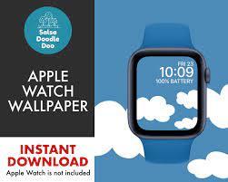 Blaue Apple Watchface Wallpaper mit ...