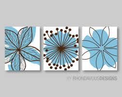 blue brown bedroom pictures bathroom artwork bedroom pictures flower wall art pictures flower burst dahlia set of 3 canvas or print ns363  on blue brown wall art with bedroom pictures etsy