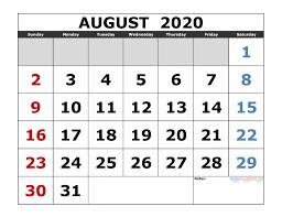 August 2020 Printable Calendar Template Excel Pdf Image
