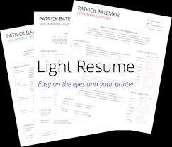 Light Resume Easy On The Eyes And Your Printer
