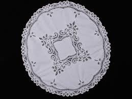 white battenburg lace round table topper 36 inch