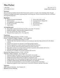 sales rep sample resume appealing sample resume for medical sales