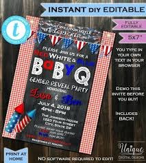 Barbeque Invitation Gender Reveal Bbq Invitations