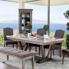 Transitional Brown Woodstone Dining Table Bridgen Furniture Of