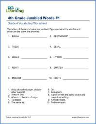 Printable worksheets for teaching students to read and write basic words that begin with the letters br, cr, dr, fr, gr, pr, and tr. Jumbled Words Worksheets For Grade 4 K5 Learning