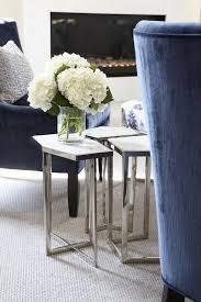 Blue Velvet Accent Chairs with Regina Andrew Puzzle Table Set