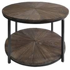 laurel round wood planked coffee table
