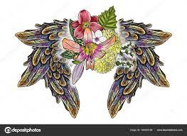 красивые иллюстрации лилии розы ромашки цветы птицы крыльев чёрная