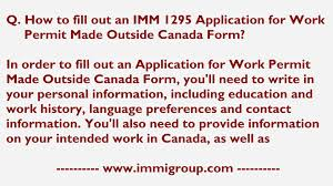 how to fill out an imm application for work permit made how to fill out an imm 1295 application for work permit made outside form