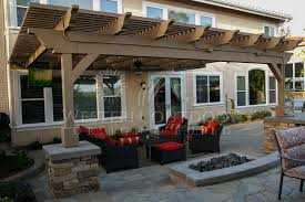 wood patio covers. Contemporary Wood Trellis Style Patio Cover Attached To House On Wood Covers