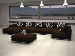 Contemporary Modern Brown Fabric Sectional Sofa Black