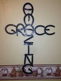 on amazing grace metal cross wall art with amazing grace wall hanging horseshoe cross