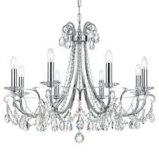 8 light polished chrome transitional modern chandelier dd in clear swarovski strass crystal