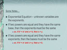 exponential equation unknown variables are the exponents