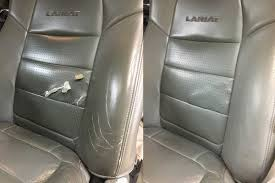 leather car seat tear before and after