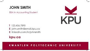 How To Order Student Business Cards Kpu Ca Kwantlen Polytechnic