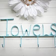aquamarine towel holder metal wall sign pool decor beach