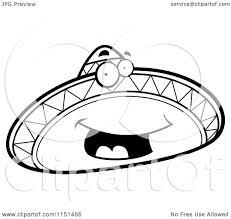 Cartoon Clipart Of A Black And White Happy Sombrero Mascot ...