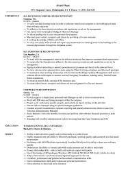 Cover Letter Corporate Receptionist Resume Samples Velvet Jobs