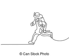 firefighter running to fire with hatchet continuous line
