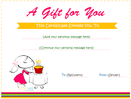 Birthday Gift Certificate Template For Girls