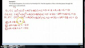 finding the equation of a circle given 3 points