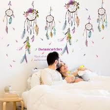 colorful campanula feather wall sticker dreamcatcher vinyl home