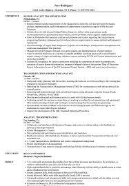 Analyst Transportation Resume Samples Velvet Jobs