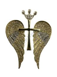 yellow gold angel wings with cross pendant