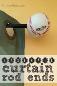 diy baseball curtain rod ends diy bedroom projects for men