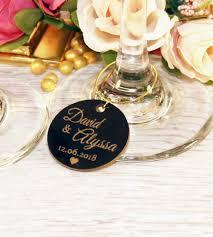 personalised glossy round wine glass charm 3